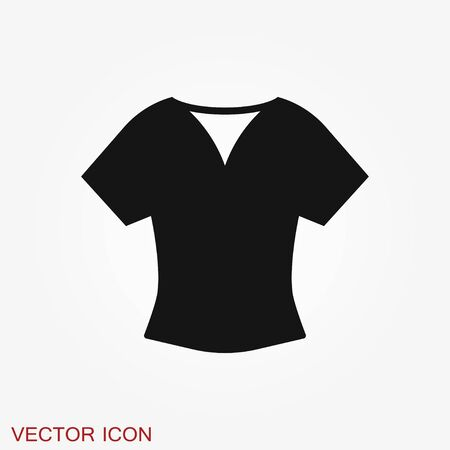 Woman blouse, tunic flat icon. Classic women apparel store sign. Illustration