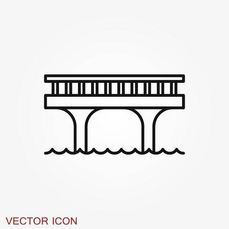 Brückensymbol im flachen Stil. Zugbrückenvektorillustration auf schwarzem rundem Hintergrund mit langem Schatten. Straßengeschäftskonzept. Vektorgrafik