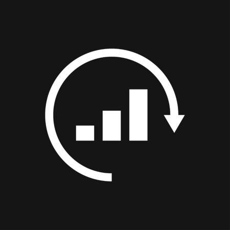 Analytics icon. Vector illustration style is flat iconic symbol, black color Ilustracja