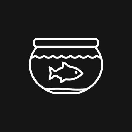 Vector aquarium fish silhouette illustration, icon for your design.  イラスト・ベクター素材