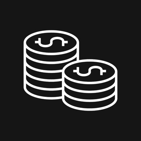 Money. Line Icon Vector. Payment system. Coins and Dollar cent Sign isolated on white background. Flat design style. Business concept. Stok Fotoğraf - 131824374