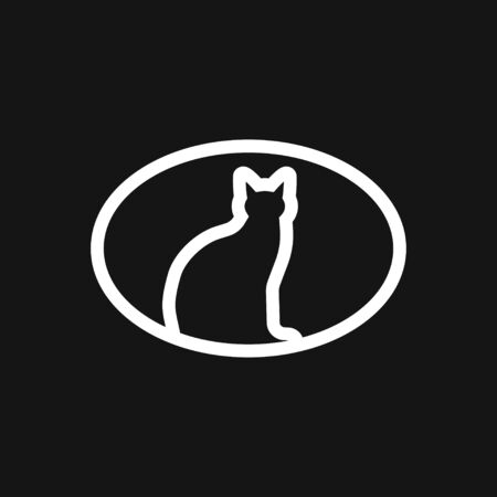 Cat icon  design vector template Flat style.Home pet veterinary clinic store Logotype concept icon Çizim
