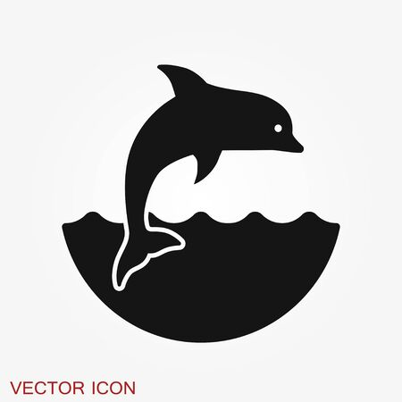 Dolphin aquatic mammal vector icon for animal apps and websites Stock Vector - 131443173