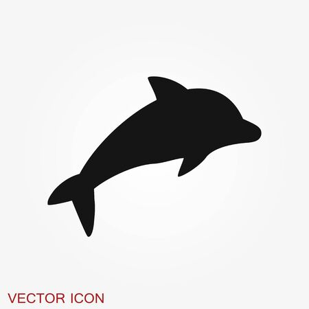 Dolphin aquatic mammal vector icon for animal apps and websites Illustration