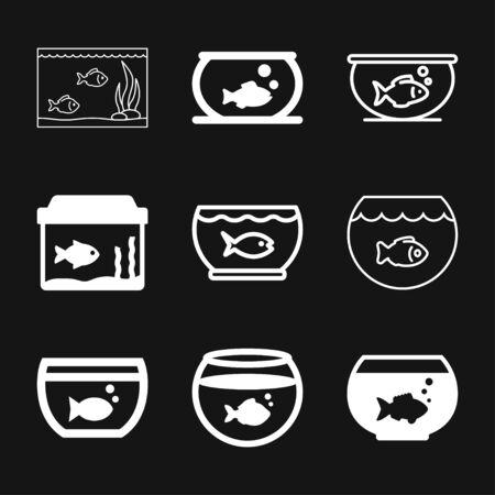 Vector aquarium fish silhouette illustration, icon for your design. Çizim