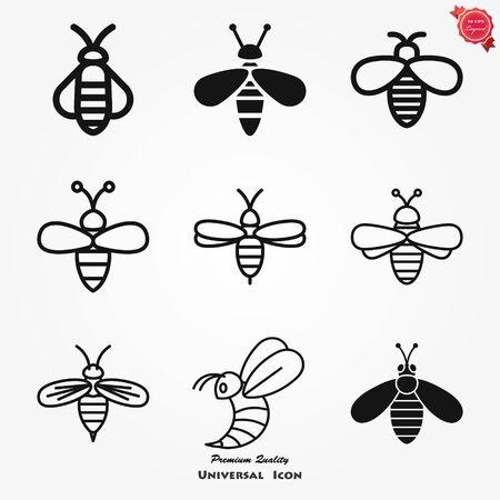 Honey bee icon. Farm animal sign. Graph symbol for your web site design Çizim