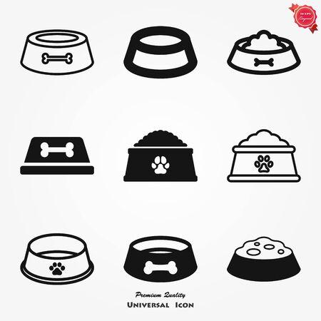 Pet food bowl vector icon french bulldog symbol dog food bone paw heart cartoon illustration clip art graphic simple