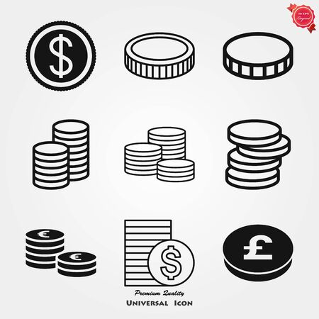 Coins Icon isolated on background. Money symbol for website design