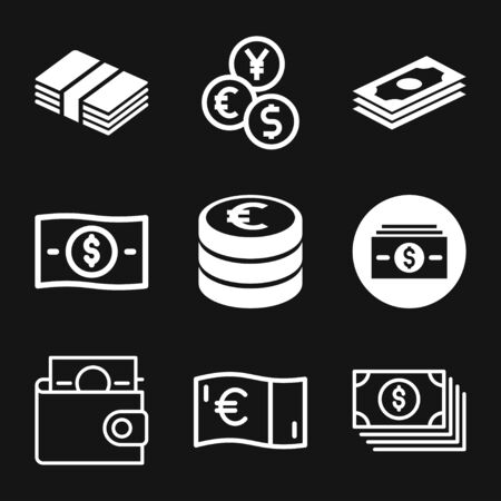 Argent. Vecteur d'icône de ligne. Système de paiement. Pièces et dollar cent signe isolé sur fond blanc. Style design plat. Concept d'entreprise.