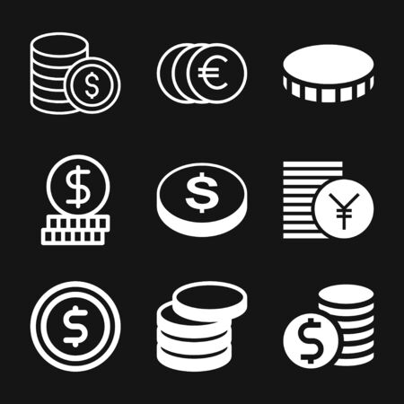 Coins Icon isolated on background. Money symbol for web site design, logo, app, UI. Editable stroke. Vector illustration, EPS10 Illusztráció