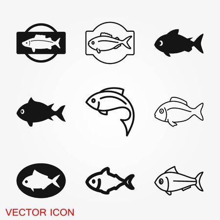 Fish Icon. EPS 10 vector illustration for design. Elements for design. Çizim