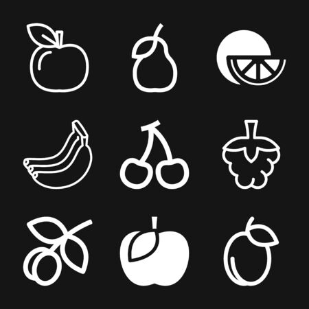 Fruit icons, vector symbol of food Illustration