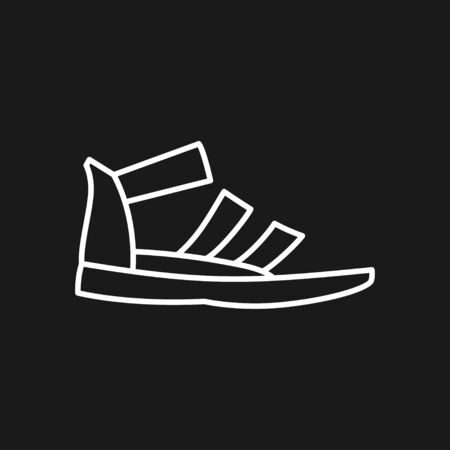 Greek sandal icon. Vector black and white vector icon or logo.