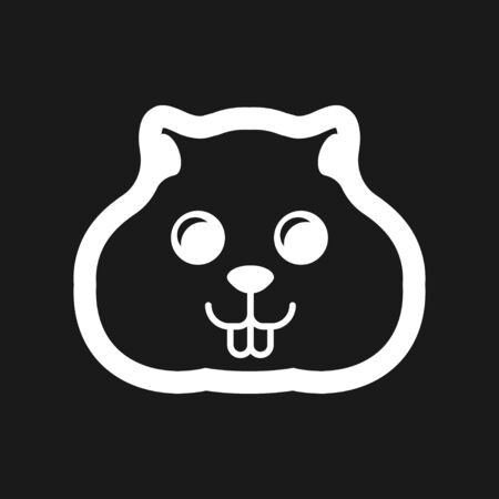 Hamster icon in flat style on background, animal