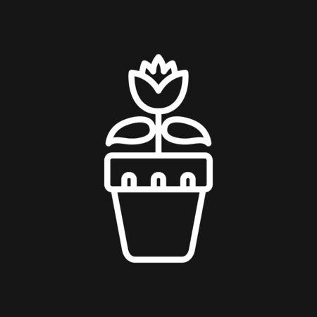 Flowerpot icon, vectorized plants in a pot, flower