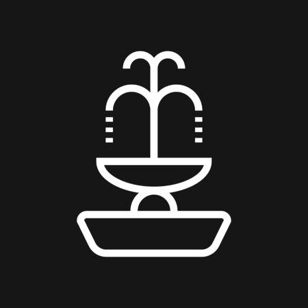 Fountain icon, vector illustration fountain with water splash. City element. Grey fountain icon