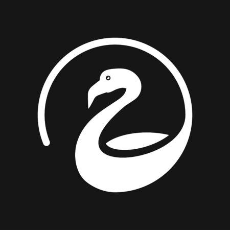 Flamingo icon, minimalistic vector illustration of bird