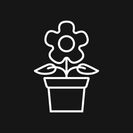 Flowerpot icon, vectorized plants in a pot, flower