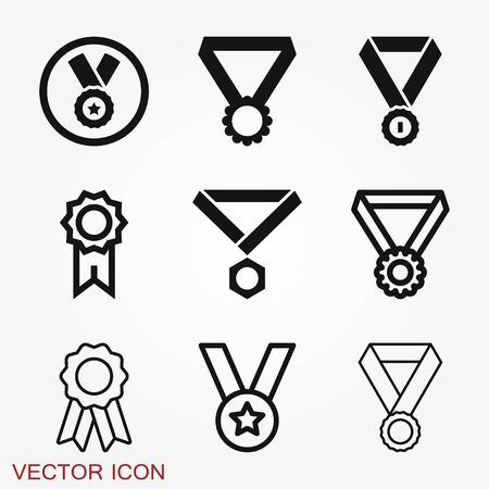 Medal icon isolated on background. Vector illustration. Flat design.