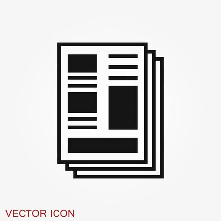 Newspaper icon. Symbol of news. Flat design. Ilustración de vector