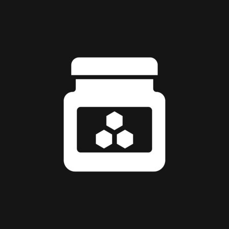 Jar vector icon with cap isolated on background. Honey symbol