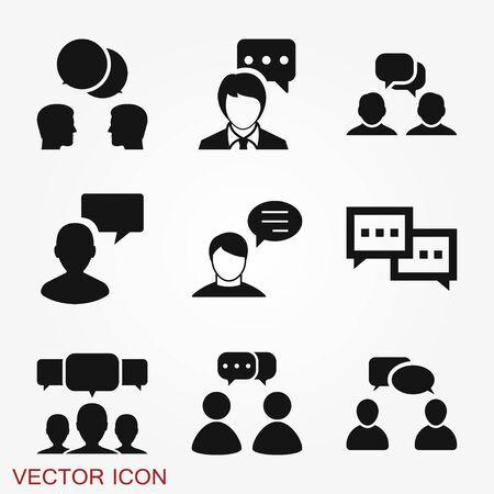 Icône parlante. Dialogue, contact, symbole de conversation isolé sur fond. Vecteurs