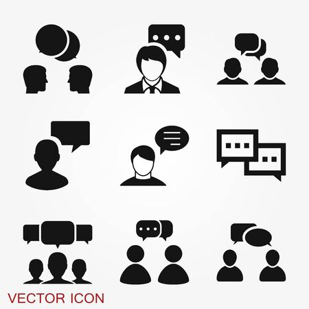 Talking icon. Dialogue,contact, conversational symbol isolated on background. Vetores