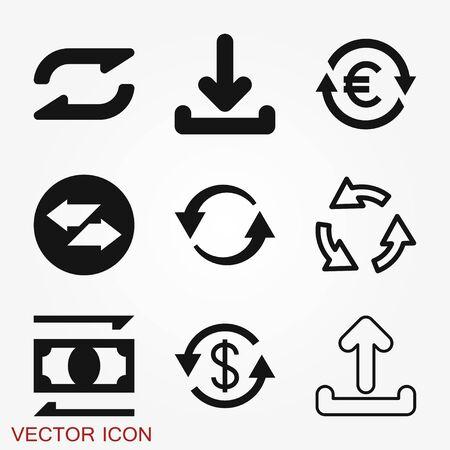 Transfer icon. Money symbol isolated on background. Vektoros illusztráció