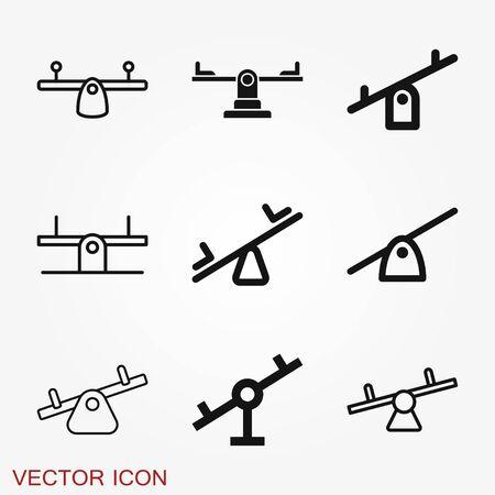 Seesaw icon. Children playground vector symbol Illustration