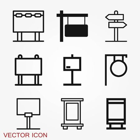 Signage icon. Signboard flat symbol. Illustration isolated vector sign