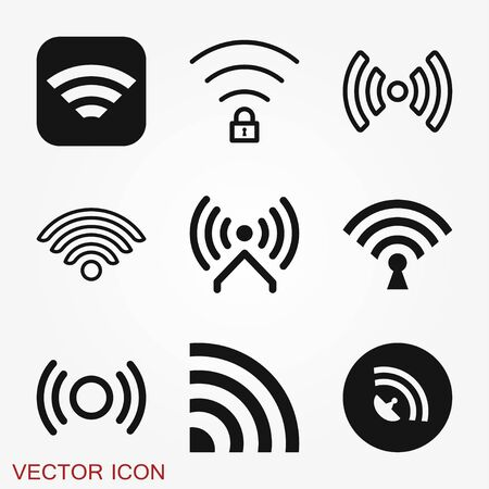 Wifi icon. Computer and network connections symbol isolated on background.