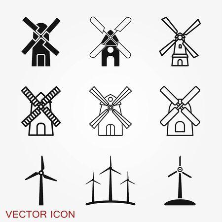 Windmill icon, wind turbine symbol isolated on background. Ilustração