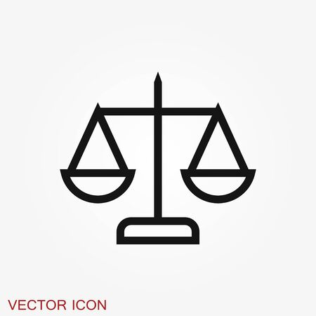 Scales icon. Scales of justice vector icon. Court of law symbol. Flat signs