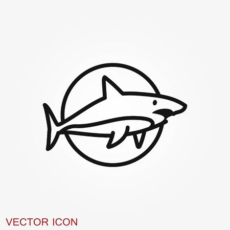 Shark icon. Silhouette shark isolated on background. Animal symbol
