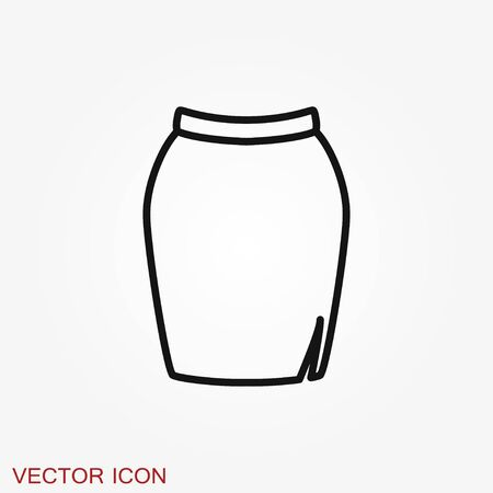Skirt vector icon symbol isolated on background.
