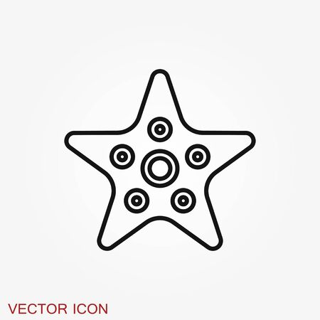 Sea star icon. Starfish sign. Sea animal symbol isolated on background.