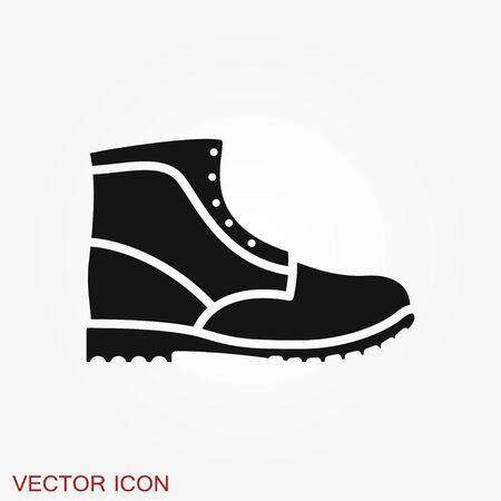 Timberland icon. Minimalist vector illustration of unisex modern shoes isolated on background.