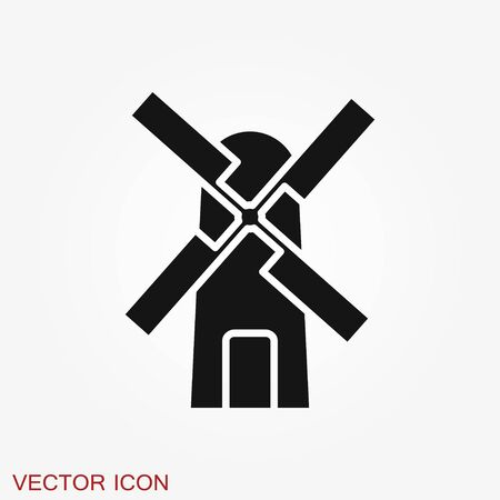 Windmill icon, wind turbine symbol isolated on background. Ilustrace