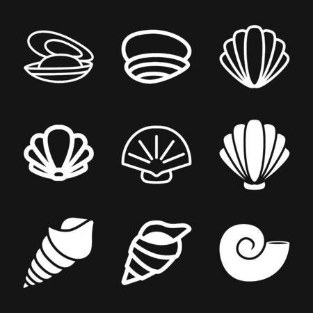 Shell icon, sea animal symbol isolated on background. Vector sign Ilustração