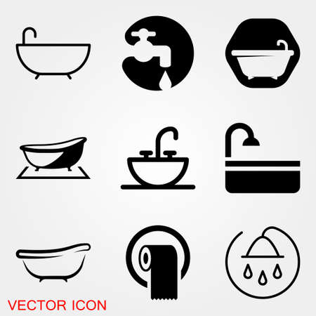 Vector bathroom icon. Premium quality graphic design. Modern signs