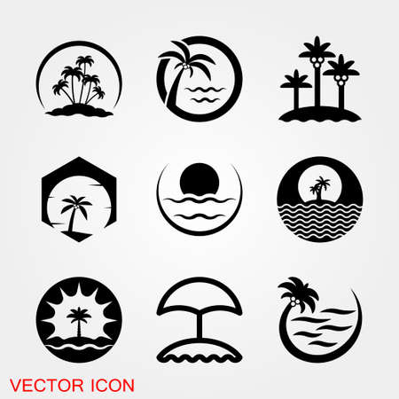 Beach icon. Summer Icons with Background sign illustration