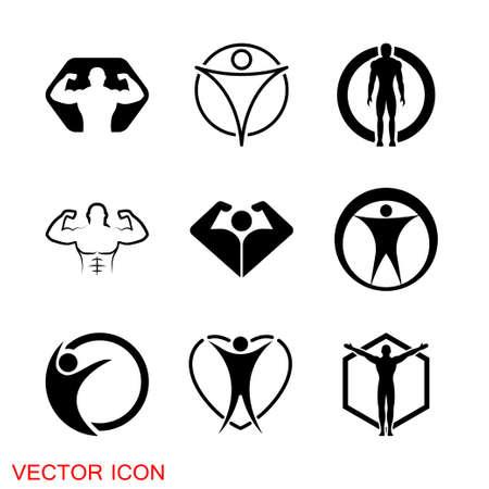 Body icon. Man Body Figure Size Icon Symbol Sign Pictogram Vettoriali