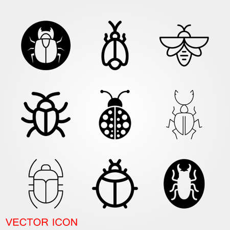 Beetle icon. Insect design, insect icons vector
