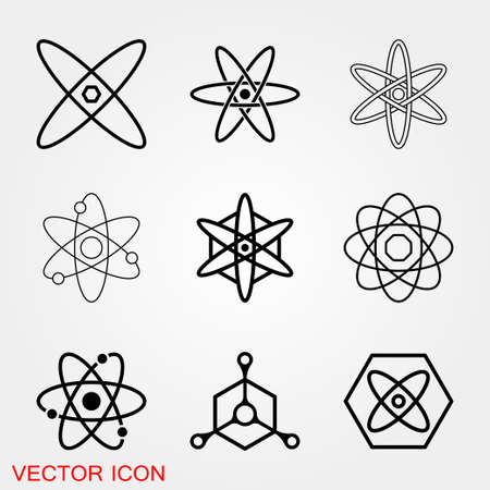 Atom icon, black science fiction atom icon 矢量图像