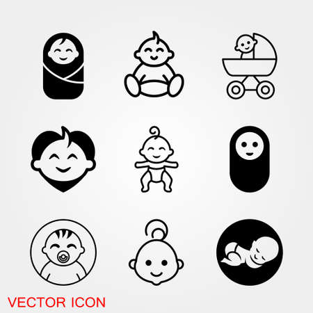 Baby changing diapers flat icon sign. vector 矢量图像