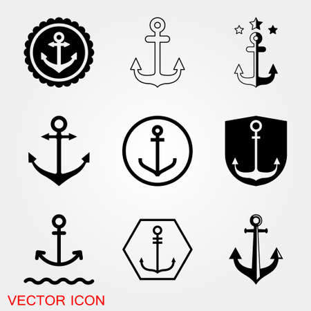 Anchor icon. Anchored flat vector icon for apps and websites Ilustração