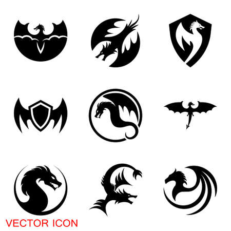 Dragon icon, Dragon  design template, dragon