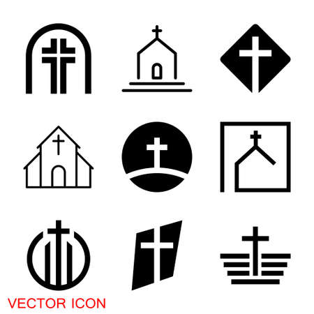 Church vector icons of religious christianity signs