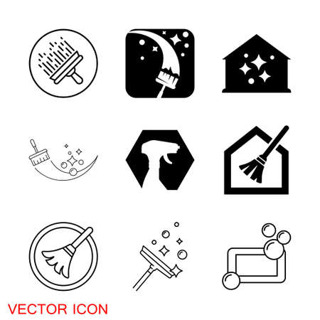 Cleaning icon. Industrial Cleaning Services Risky Cleaner Job