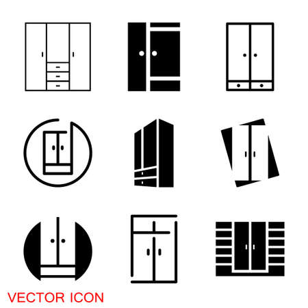 Cupboard icon, furniture and home decor icons. Vector 矢量图像
